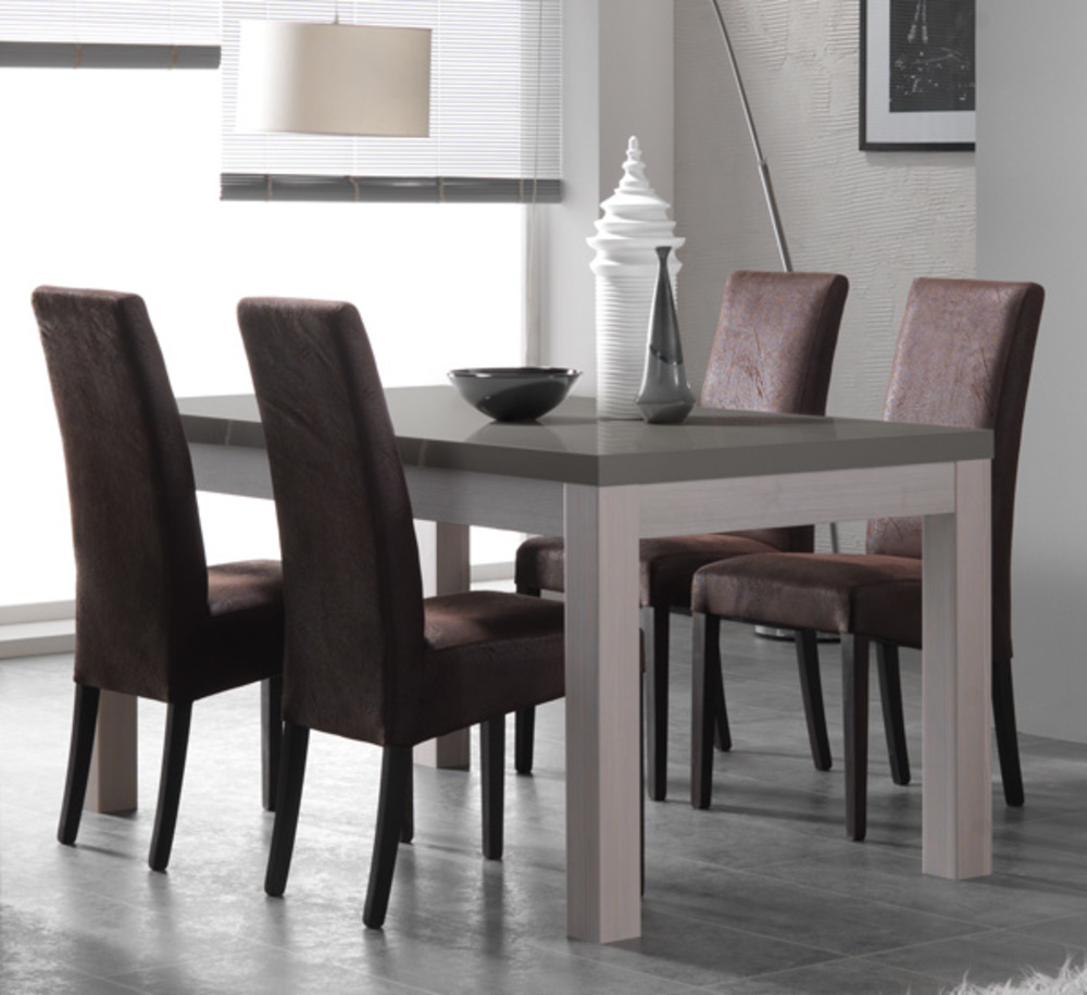 table de repas fano chene blanchi laque gris chene blanchi gris brillant l 160 x h 78 x p 90. Black Bedroom Furniture Sets. Home Design Ideas