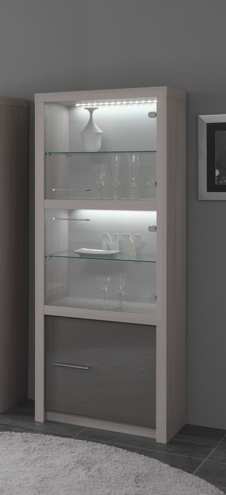 vitrine 1 porte fano chene blanchi laque gris chene blanchi gris brillant. Black Bedroom Furniture Sets. Home Design Ideas