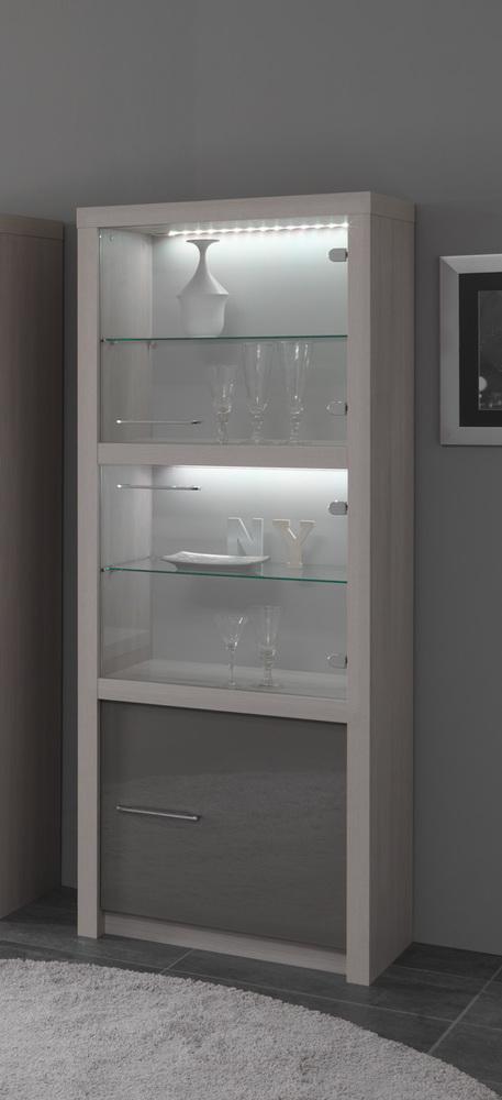 vitrine 1 porte fano chene blanchi laque gris chene blanchi gris brillant. Black Bedroom Furniture Sets. Home Design Ideas
