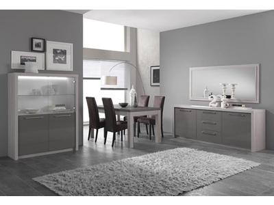 Miroir Fano chene blanchi/laque gris