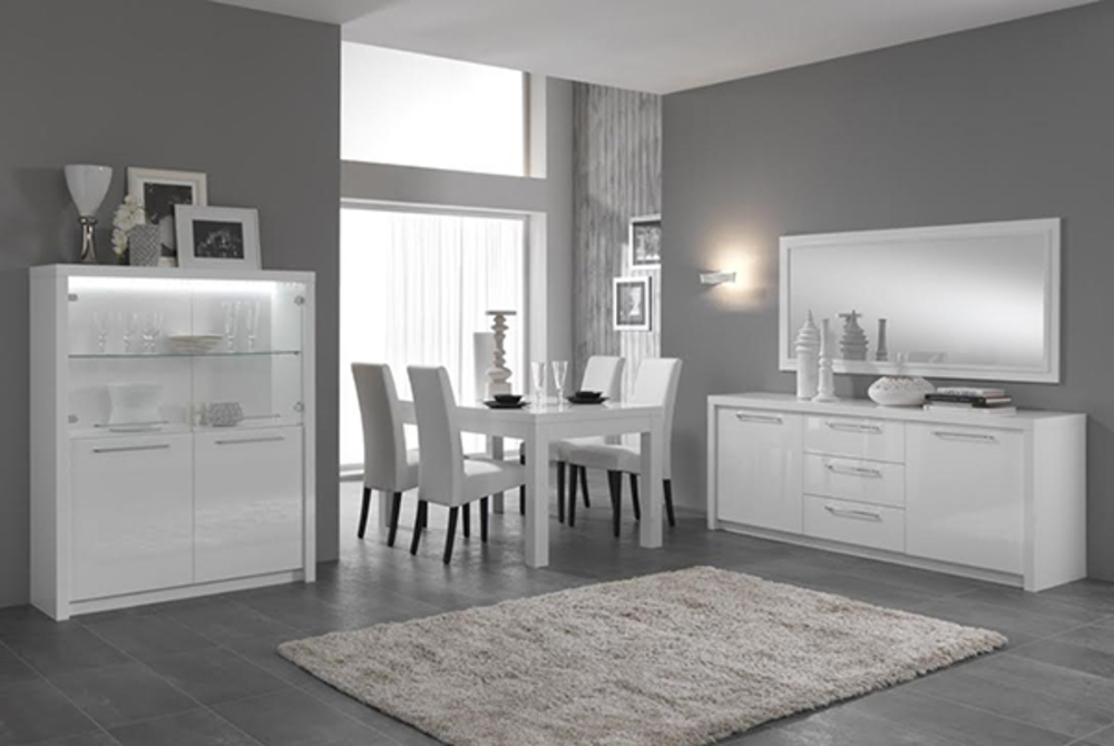 bahut 2 portes 3 tiroirs fano laque blanc blanc brillant. Black Bedroom Furniture Sets. Home Design Ideas
