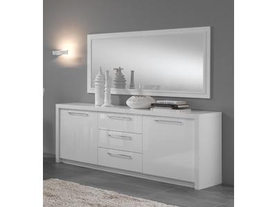 Bahut 2 portes 3 tiroirs Roma laqué bicolore Noir / blanc
