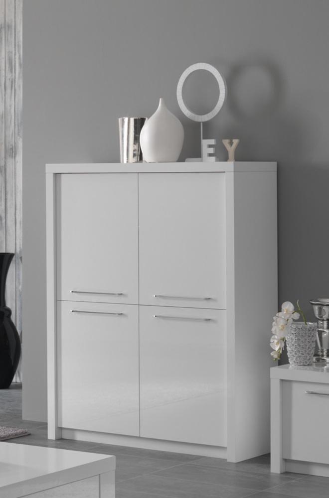bar 4 portes fano laque blanc blanc brillant. Black Bedroom Furniture Sets. Home Design Ideas