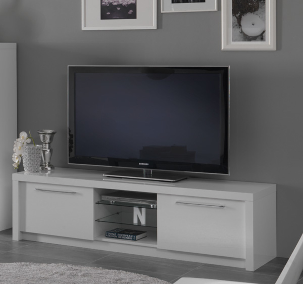 Meuble tv plasma fano laque blanc blanc brillant l 180 x h for Grand meuble tv blanc laque