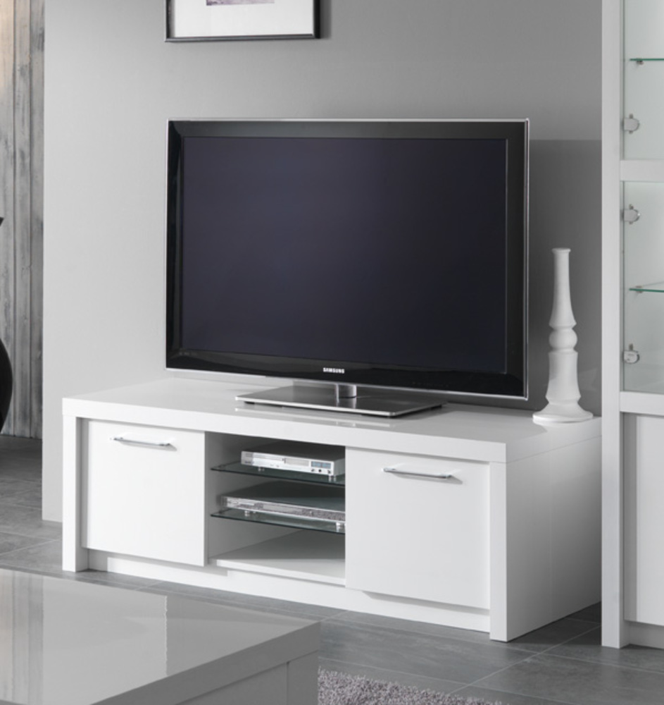 Meuble tv plasma fano laque blanc brillant blanc l 150 x h for Meuble salon tv