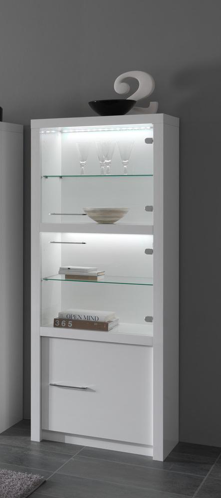 vitrine 3 portes avec leds fano laque blanc blanc brillant. Black Bedroom Furniture Sets. Home Design Ideas