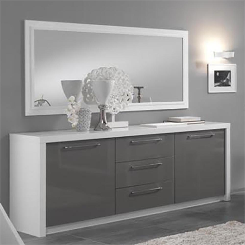 Bahut 2 portes 3 tiroirs fano laque blanc et gris blanc brillant gris brillant - Meuble cuisine gris laque ...