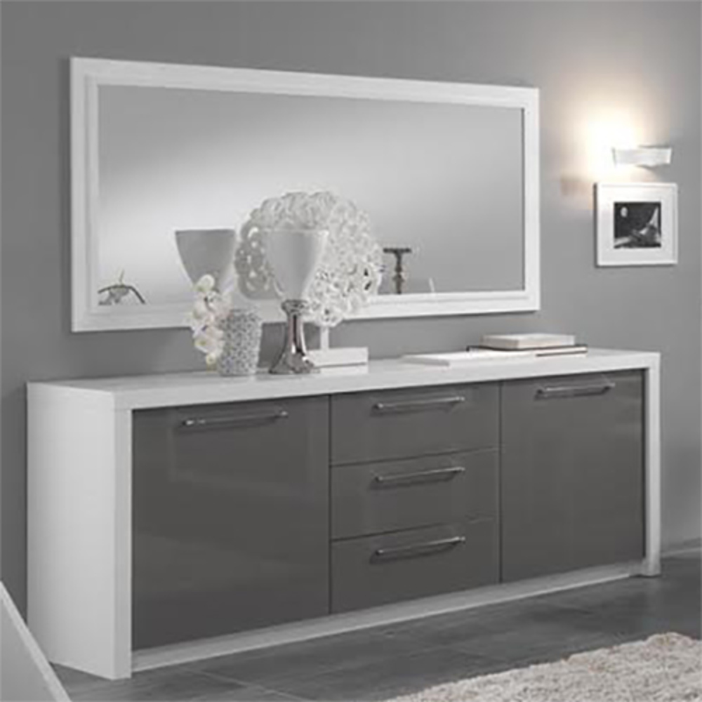 bahut 2 portes 3 tiroirs fano laqu blanc et gris blanc. Black Bedroom Furniture Sets. Home Design Ideas