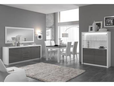 Bahut 2 portes 3 tiroirs Fano laqué blanc et gris