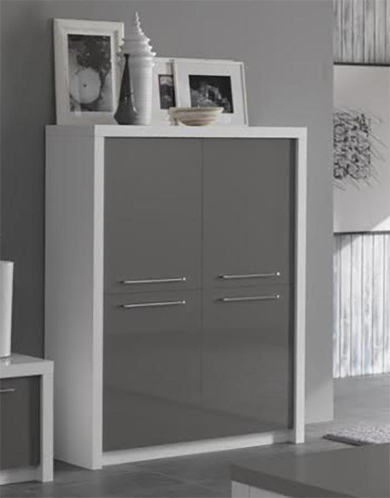 Bar 4 portes Fano laqué blanc et gris Blanc brillant/gris brillant