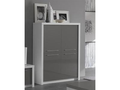 Bar 4 portes Fano laqué blanc et gris