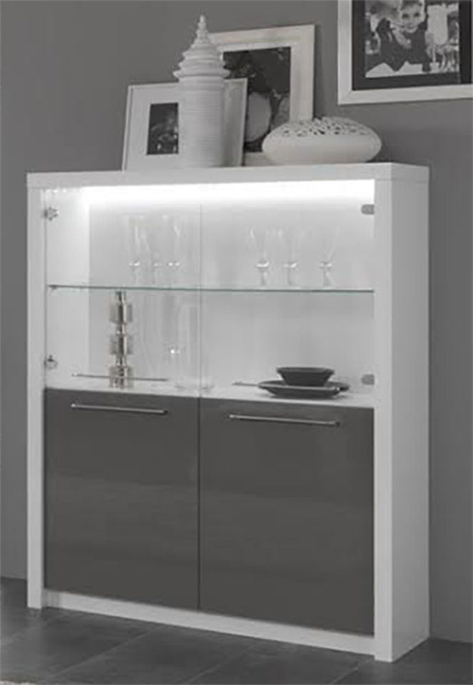 bar vitre fano laque blanc et gris blanc brillant gris. Black Bedroom Furniture Sets. Home Design Ideas