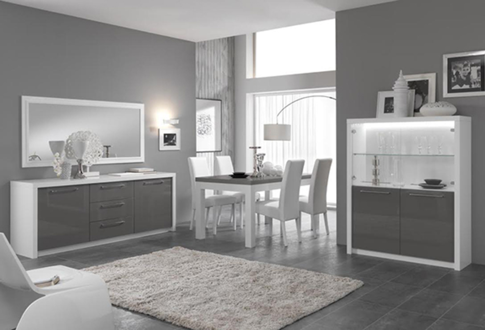 bar vitr fano laqu blanc et gris blanc brillant gris. Black Bedroom Furniture Sets. Home Design Ideas