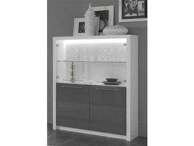 bar vitr fano laqu blanc et gris blanc brillant gris brillant. Black Bedroom Furniture Sets. Home Design Ideas