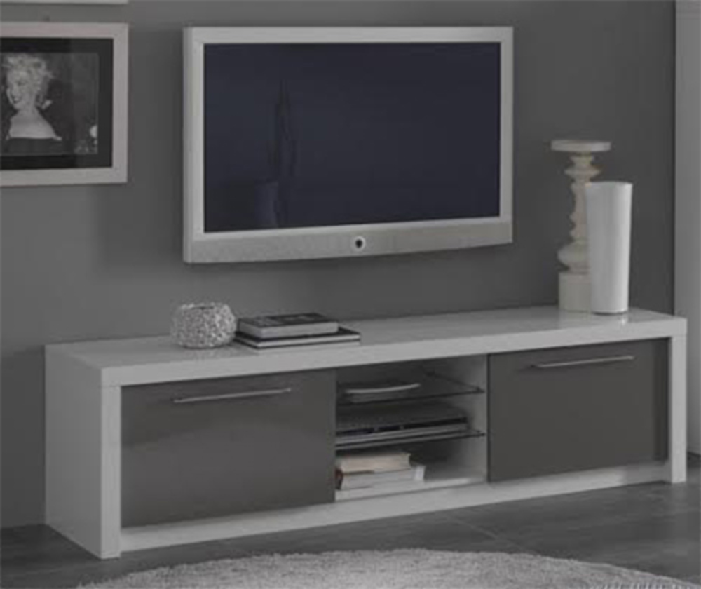 Meuble tv plasma fano laqu blanc et gris blanc brillant for Meuble tv bas gris