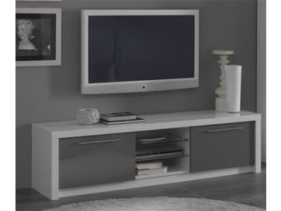 Meuble tv plasma fano laque blanc blanc brillant l 180 x h for Meuble tv gris blanc