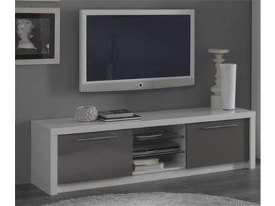 Meuble tv plasma Fano laqué blanc et gris