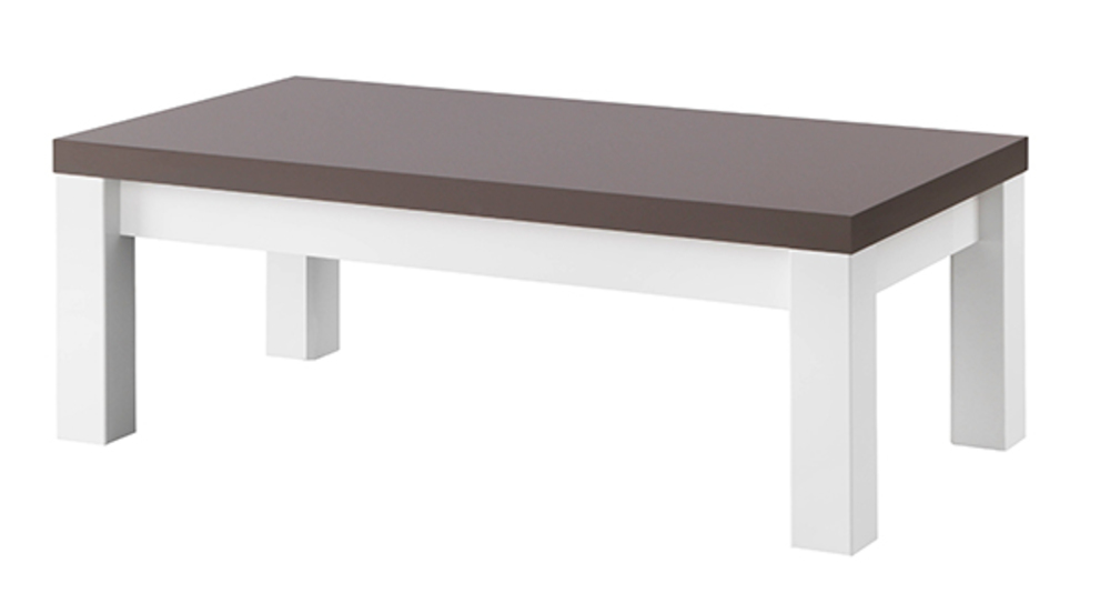 Table basse fano laqu blanc et gris blanc brillant gris - Table de chevet gris laque ...