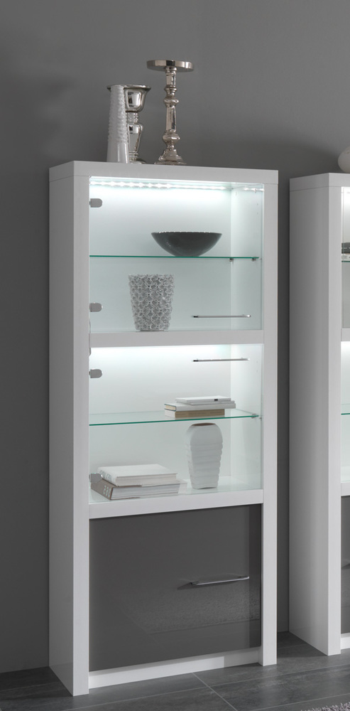 vitrine 1 porte fano laqu blanc et gris blanc brillant gris brillant. Black Bedroom Furniture Sets. Home Design Ideas
