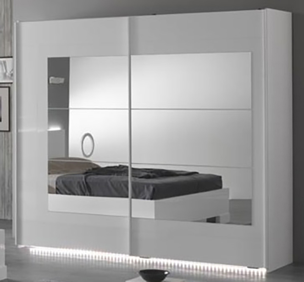 armoire 2 portes coulissantes ancona laque blanc cac blanc l 200 x h 210 x p 63. Black Bedroom Furniture Sets. Home Design Ideas
