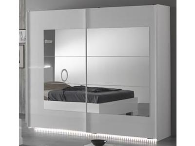 armoire 2 portes coulissantes ancona laque blanc cacl 200. Black Bedroom Furniture Sets. Home Design Ideas