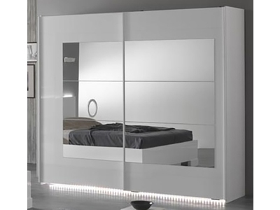 armoire 2 portes coulissantes ancona laque blanc cacl 240. Black Bedroom Furniture Sets. Home Design Ideas