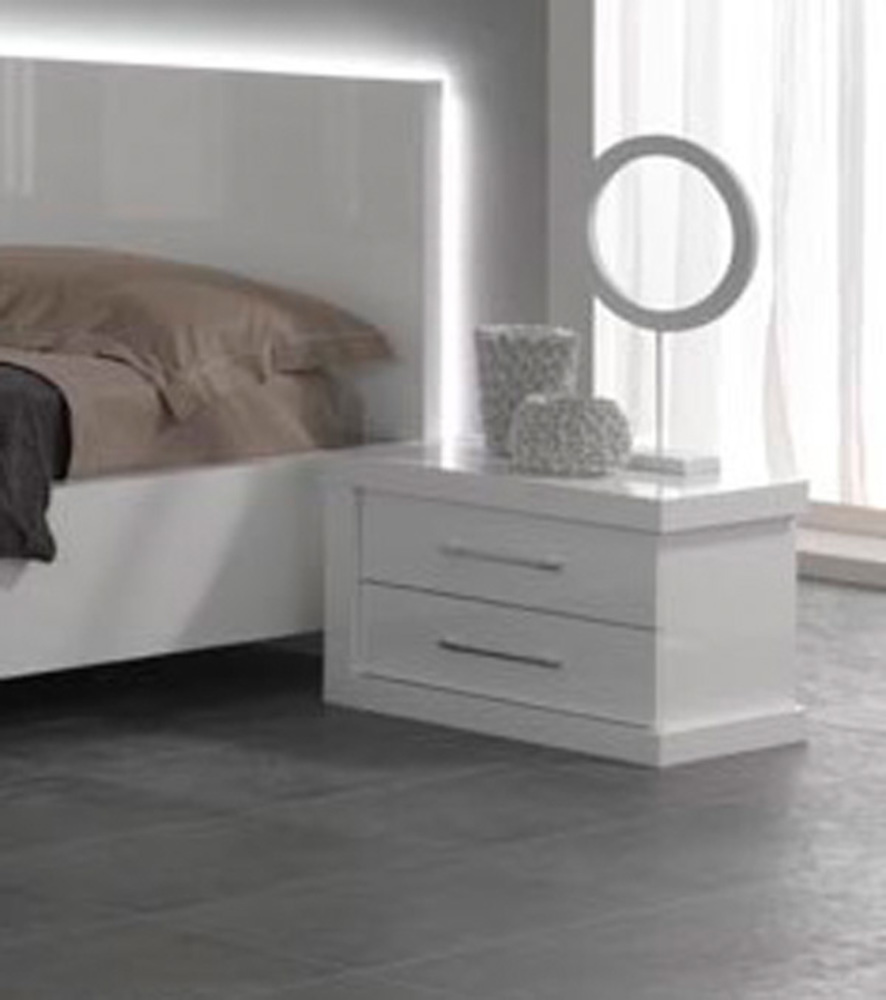 chevet 2 tiroirs droite ancona laque blanc cac. Black Bedroom Furniture Sets. Home Design Ideas