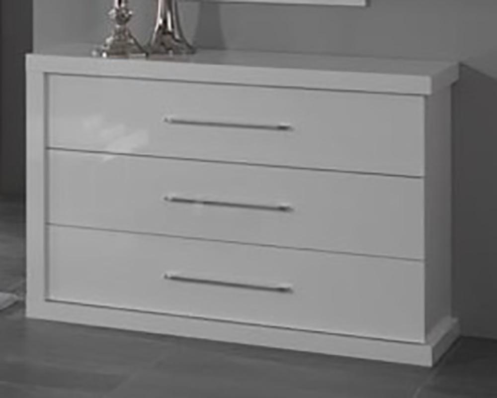 Commode 3 tiroirs ancona laque blanc chambre coucher blanc - Commode chambre a coucher ...