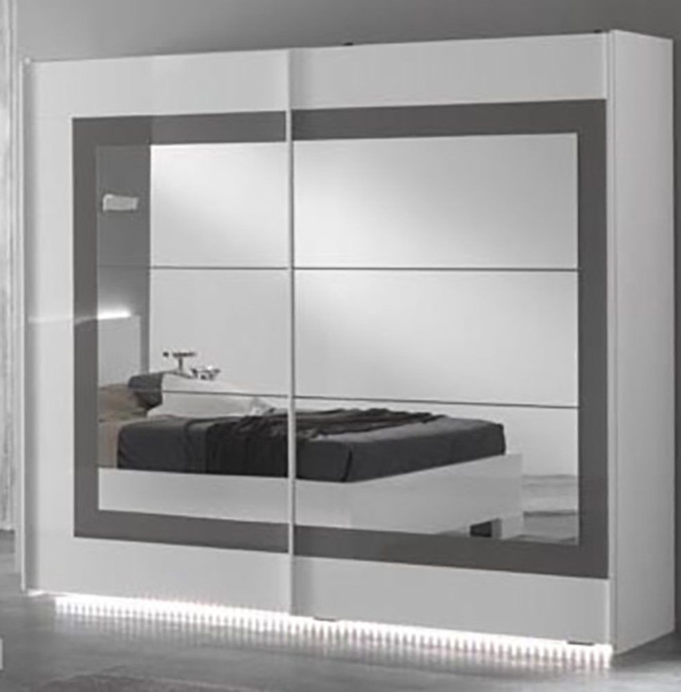 armoire 2 portes coulissantes ancona laque blanc grisl 200 x h 210 x p 63. Black Bedroom Furniture Sets. Home Design Ideas