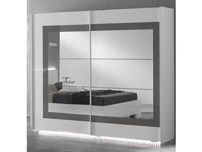 armoire 2 portes coulissantes ancona laque blanc grisl 200. Black Bedroom Furniture Sets. Home Design Ideas