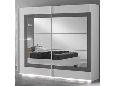 Armoire 2 portes coulissantes Ancona laque blanc/gris