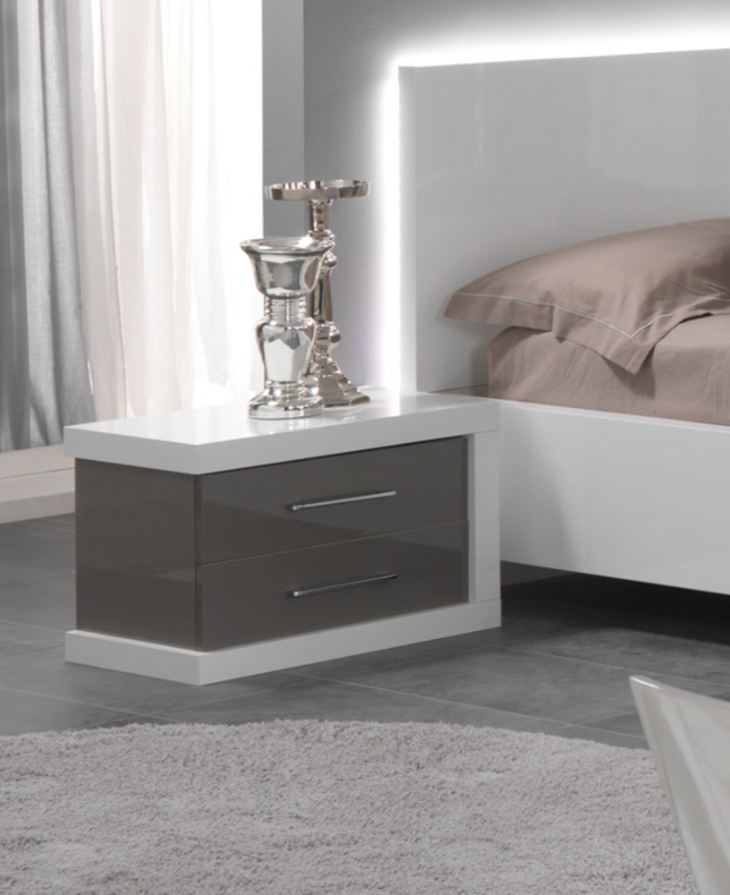 chevet 2 tiroirs gauche ancona laque blanc gris. Black Bedroom Furniture Sets. Home Design Ideas