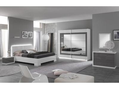Chevet 2 tiroirs gauche Ancona laque blanc/gris