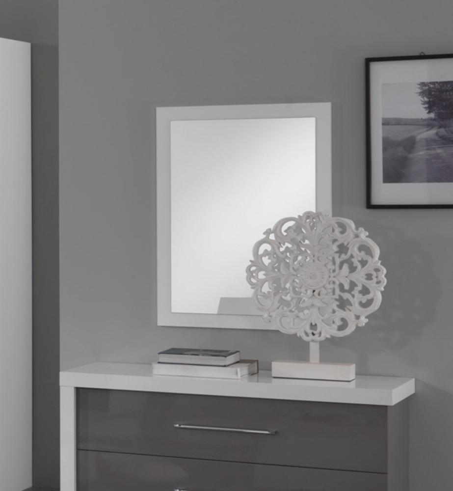 Miroir ancona laque blanc gris blanc for Miroir laque blanc