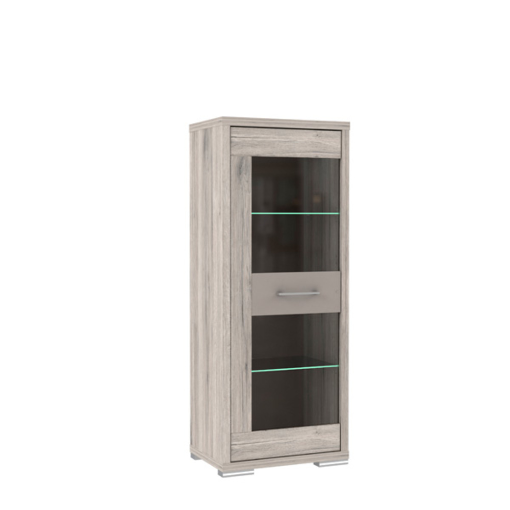 vitrine 1 porte stay chene cendre cacao mat l 63 x h 158 x. Black Bedroom Furniture Sets. Home Design Ideas