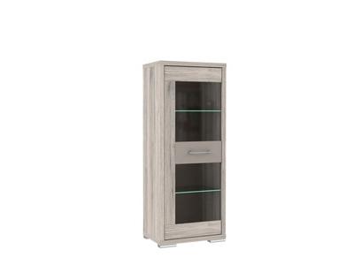 vitrine 1 porte stay chene cendre cacao mat l 63 x h 158 x p 42. Black Bedroom Furniture Sets. Home Design Ideas