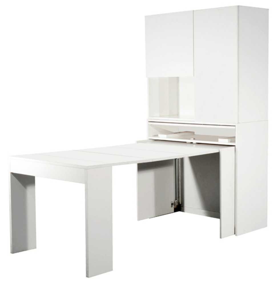 Meuble avec table extensible genio blanc for Meuble table escamotable