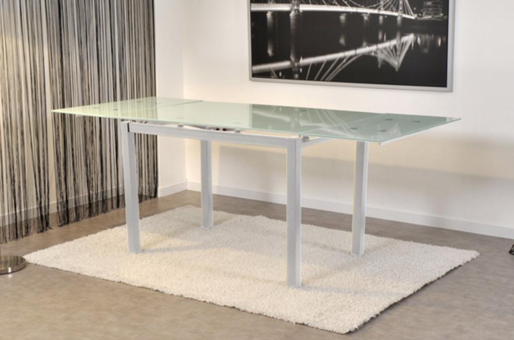 table de repas extensible bora verre blanc blanc. Black Bedroom Furniture Sets. Home Design Ideas