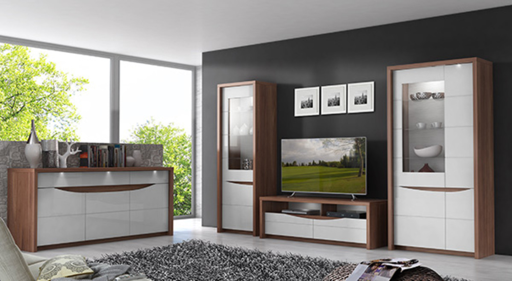 vitrine 4 portes saint tropez noyer blanc brillant. Black Bedroom Furniture Sets. Home Design Ideas