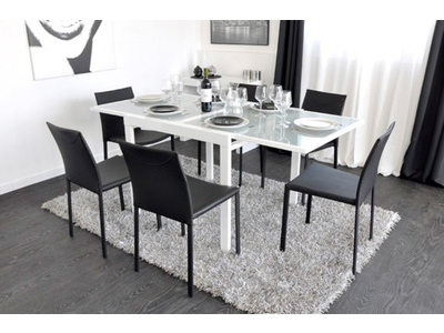 Table de repas extend blanc for Table sejour avec rallonge