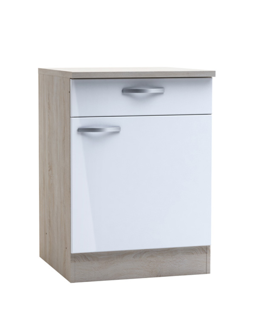 Bas 60 1 porte 1 tiroir chantilly chene bross blanc brillant for Meuble cuisine 90 x 60