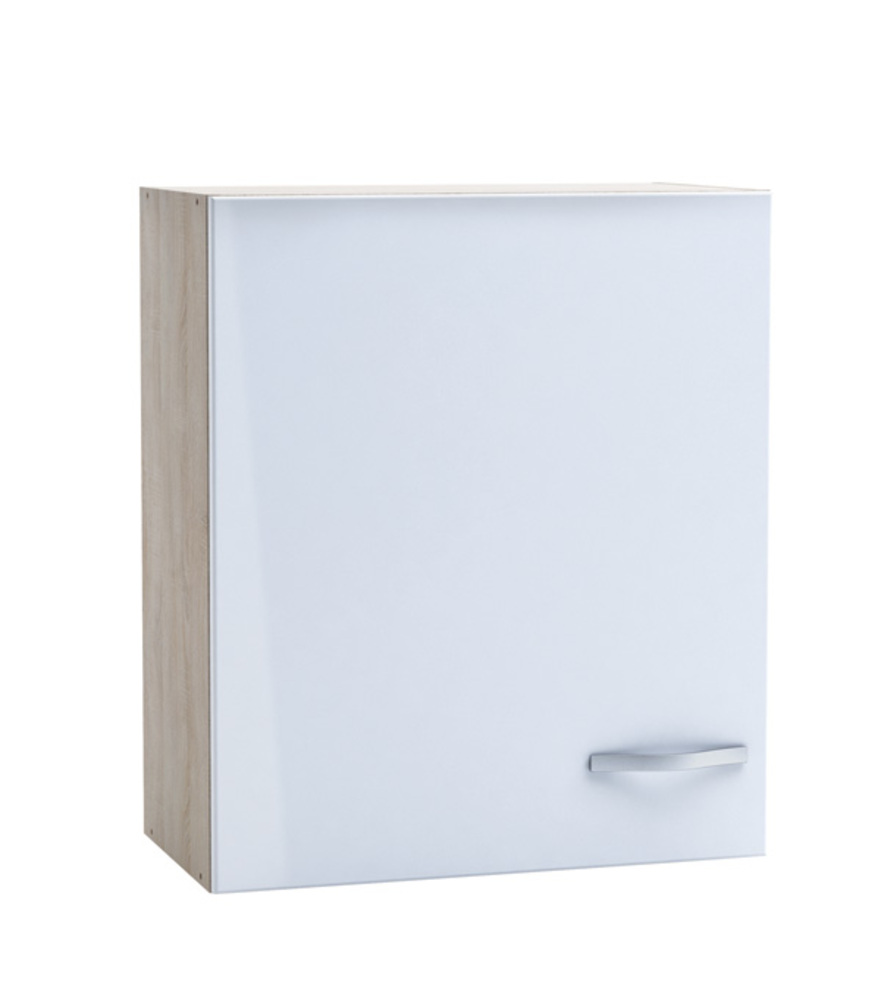 Haut 60 1 porte chantilly chene bross blanc brillant for Porte cuisine 30 x 60
