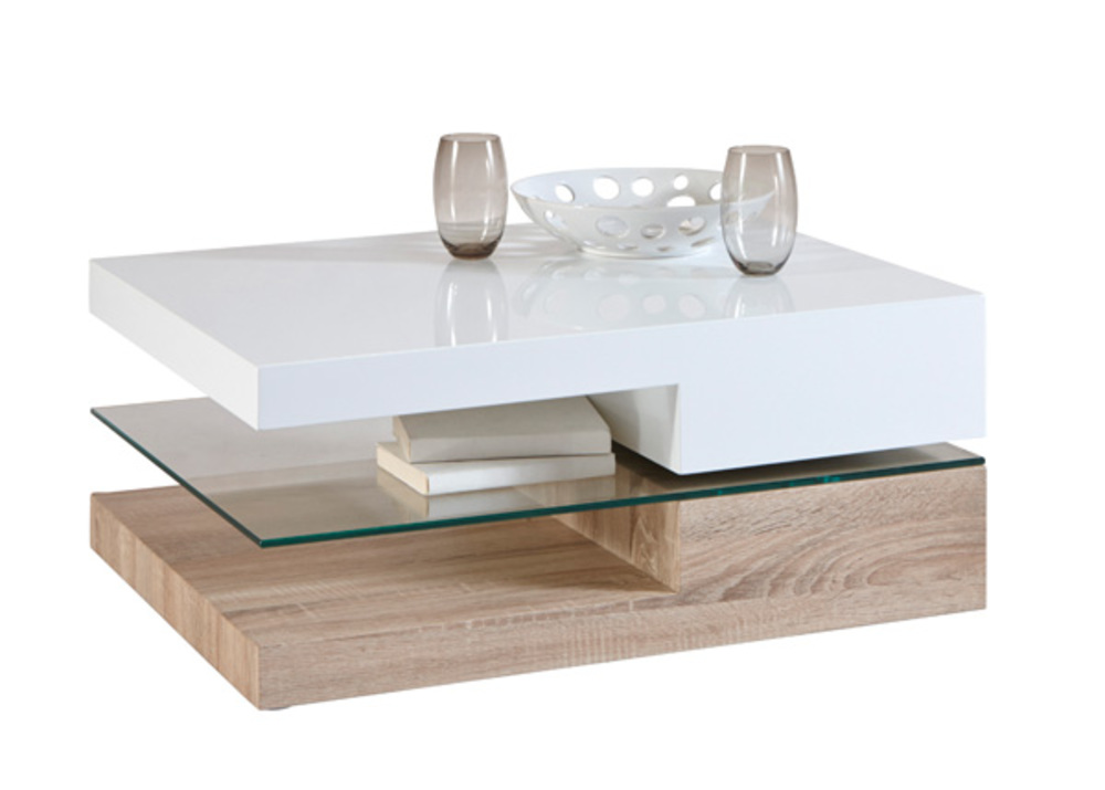 Table basse ristol chene blanc for Table de salon moderne blanc