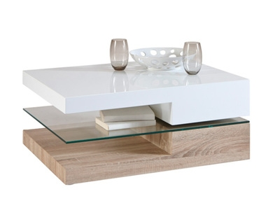 Table basse ristol chene blanc for Table de salon contemporaine
