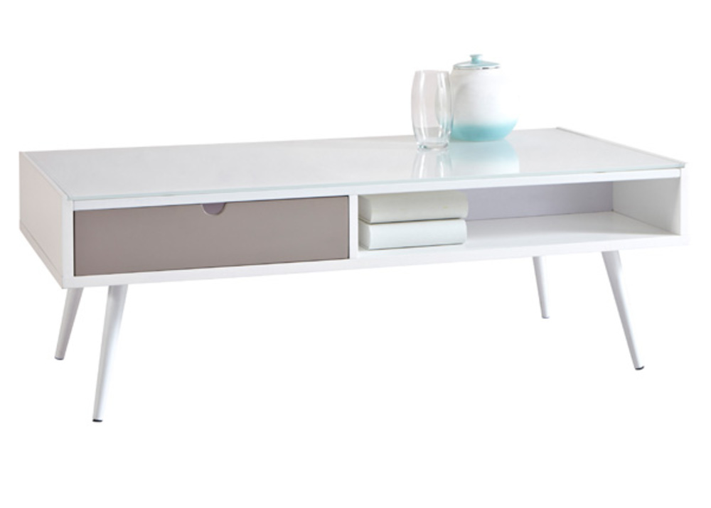 Table basse domino gris blanc - Table basse gris ...