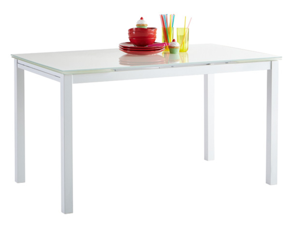 Table de repas extensible kiara blanc l 110 x h 75 x p 70 for Table cuisine 70 x 110