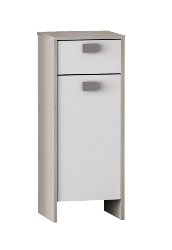 Element bas 1 porte 1 tiroir hawai chene champagne blanc for Element bas salle de bain