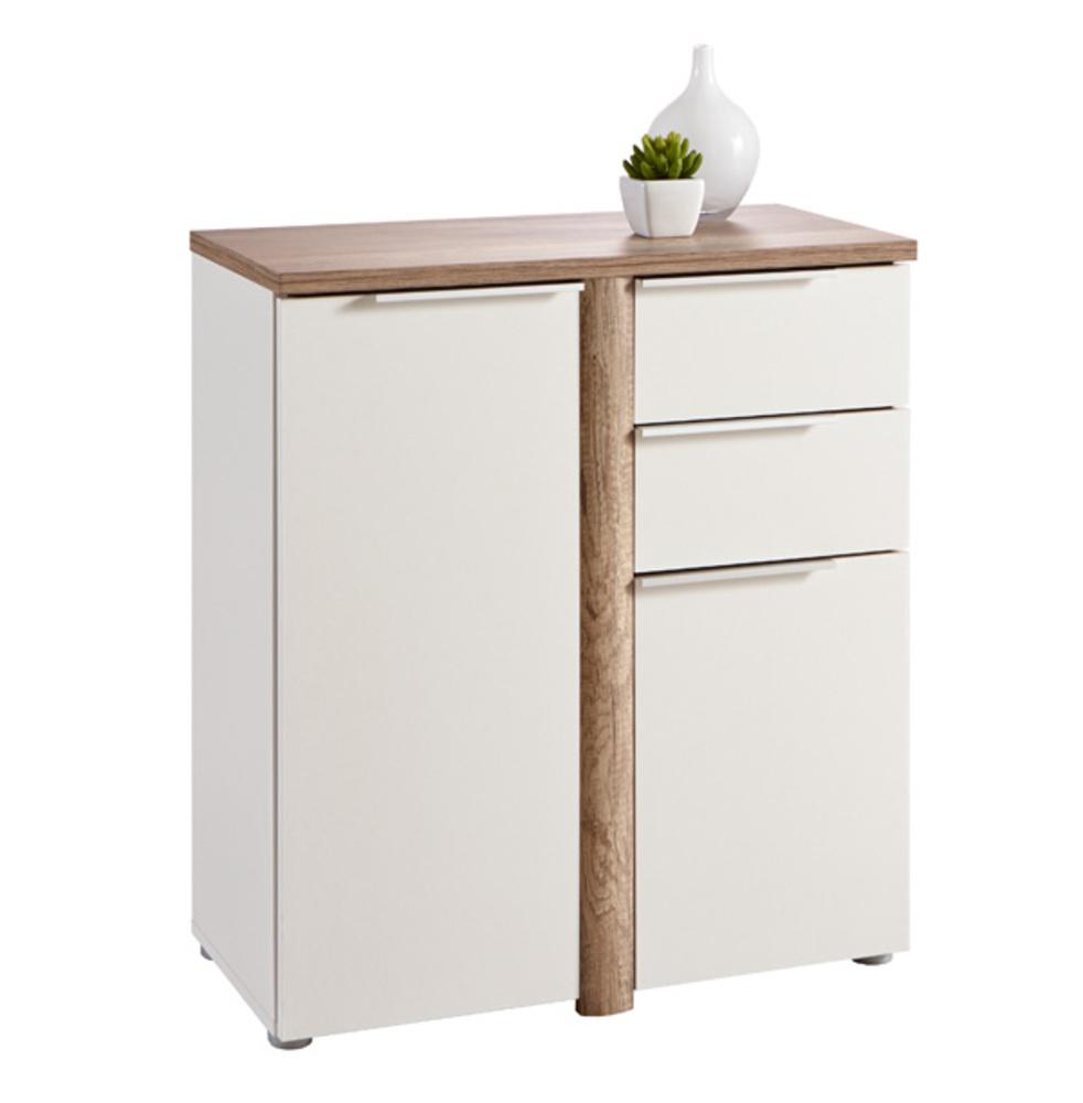 Bahut 2 portes 2 tiroirs nobel chene blanc for Petit meuble tele blanc