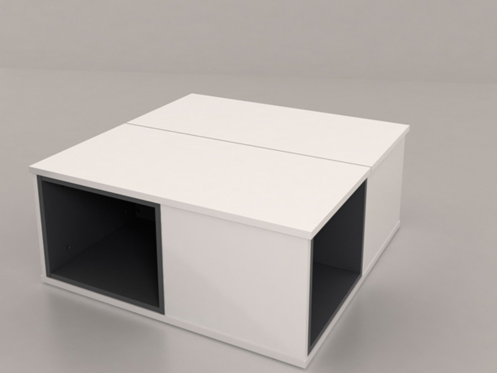 table basse relevable fabio blanc blanc et gris brillant. Black Bedroom Furniture Sets. Home Design Ideas