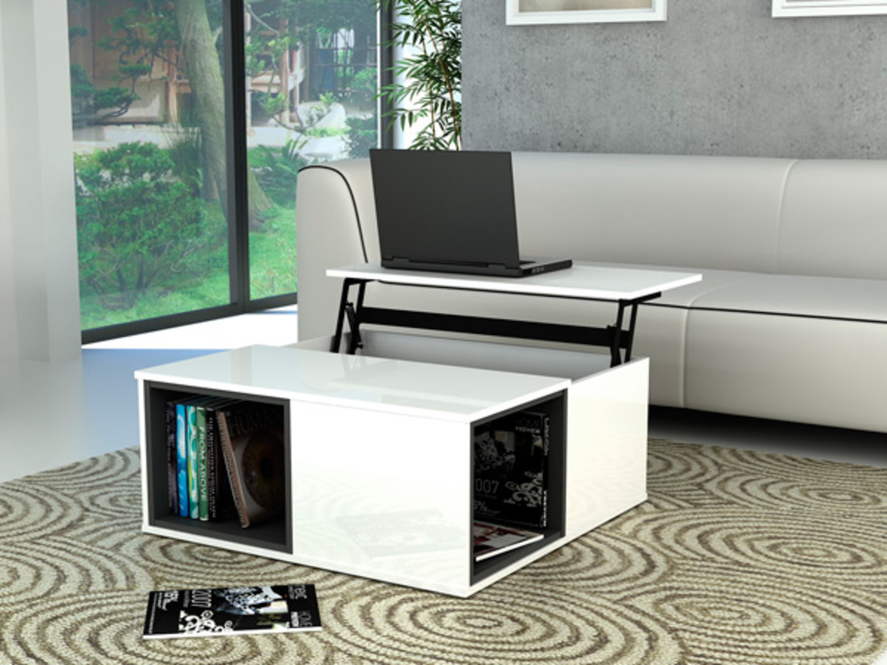 Table basse relevable fabio blanc blanc et gris brillant - Table salon convertible ...